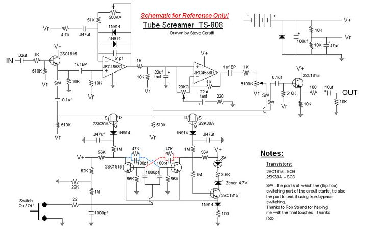 Clic Tube Screamer TS-808 Schematic - I want to try to build a ... Tube Screamer Schematic on