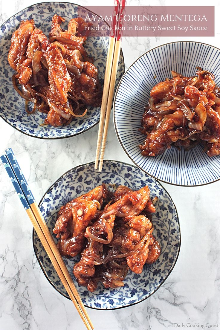 Finger lickingly good fried chicken in buttery sweet soy sauce. This ayam goreng mentega is Indonesian version of chicken teriyaki.