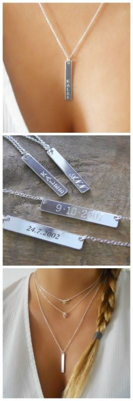 Personalized vertical silver bar necklace - laser engraved.