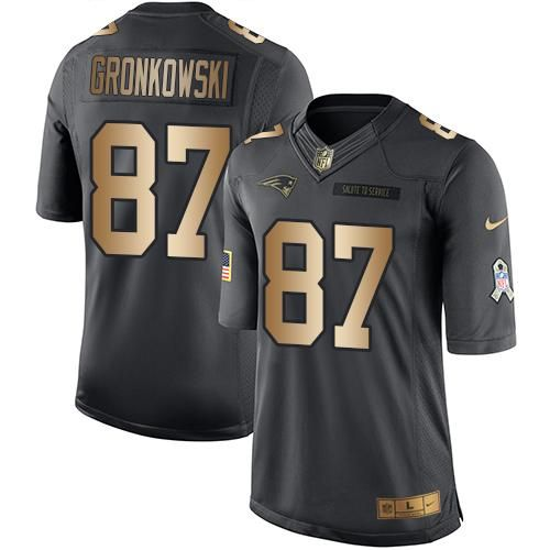 Nike Patriots #87 Rob Gronkowski Black Men's Stitched NFL Limited Gold Salute To Service Jersey