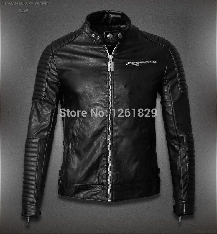 2015 Горячая Продажа Мужские Кожаные Куртки И Дубленки Jaqueta Де Couro Masculina Известного Бренда Мужчины Кожаные Ребристые Байкерская Куртка