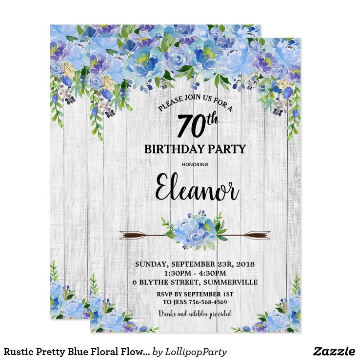 Rustic Pretty Blue Floral Flowers 70th Birthday Invitation