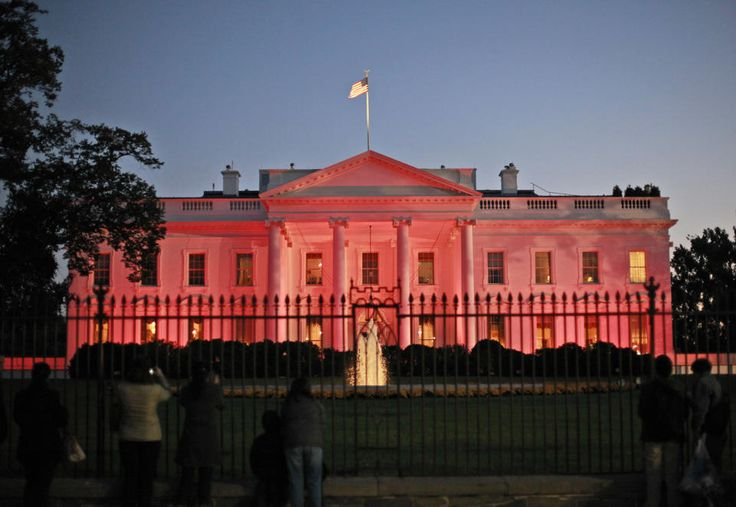The White House in Washington is bathed in pink light Thursday, Oct. 24, 2013, in recognition of Breast Cancer Awareness Month. White House ...