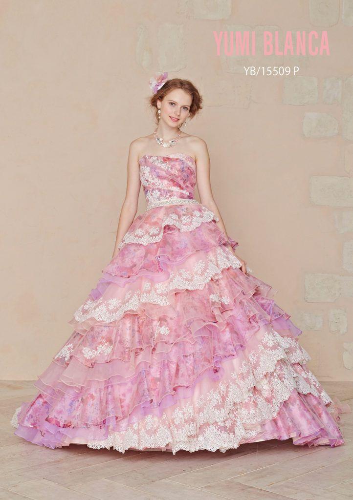 YB-15509P - 桂由美 カラードレス - カラードレスの中でも一番人気なピンクのドレス。 プリントオーガンにチュールやレースをあしらった、定番なカラードレスだが 女の子が大好きなキラキラビジューや、スカートもティアードに ...