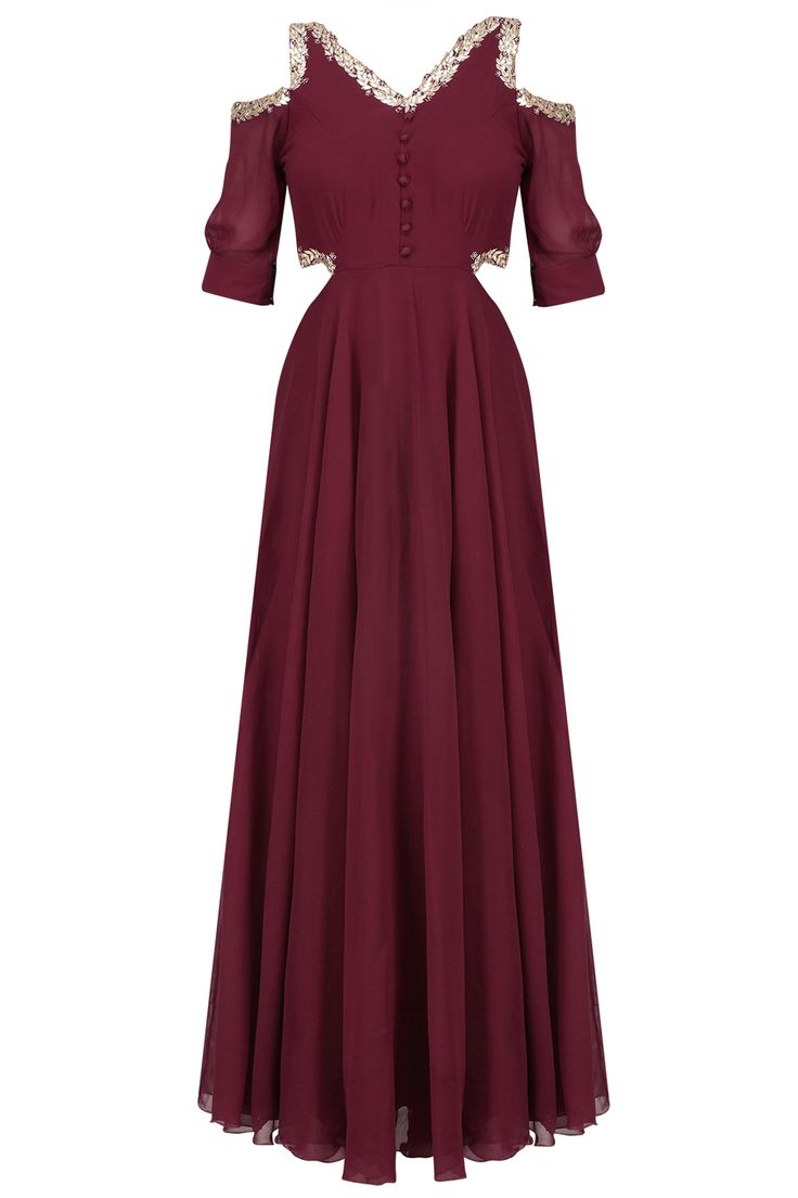Marsala red gota embroidered cold shoulder gown available only at Pernia's Pop Up Shop.