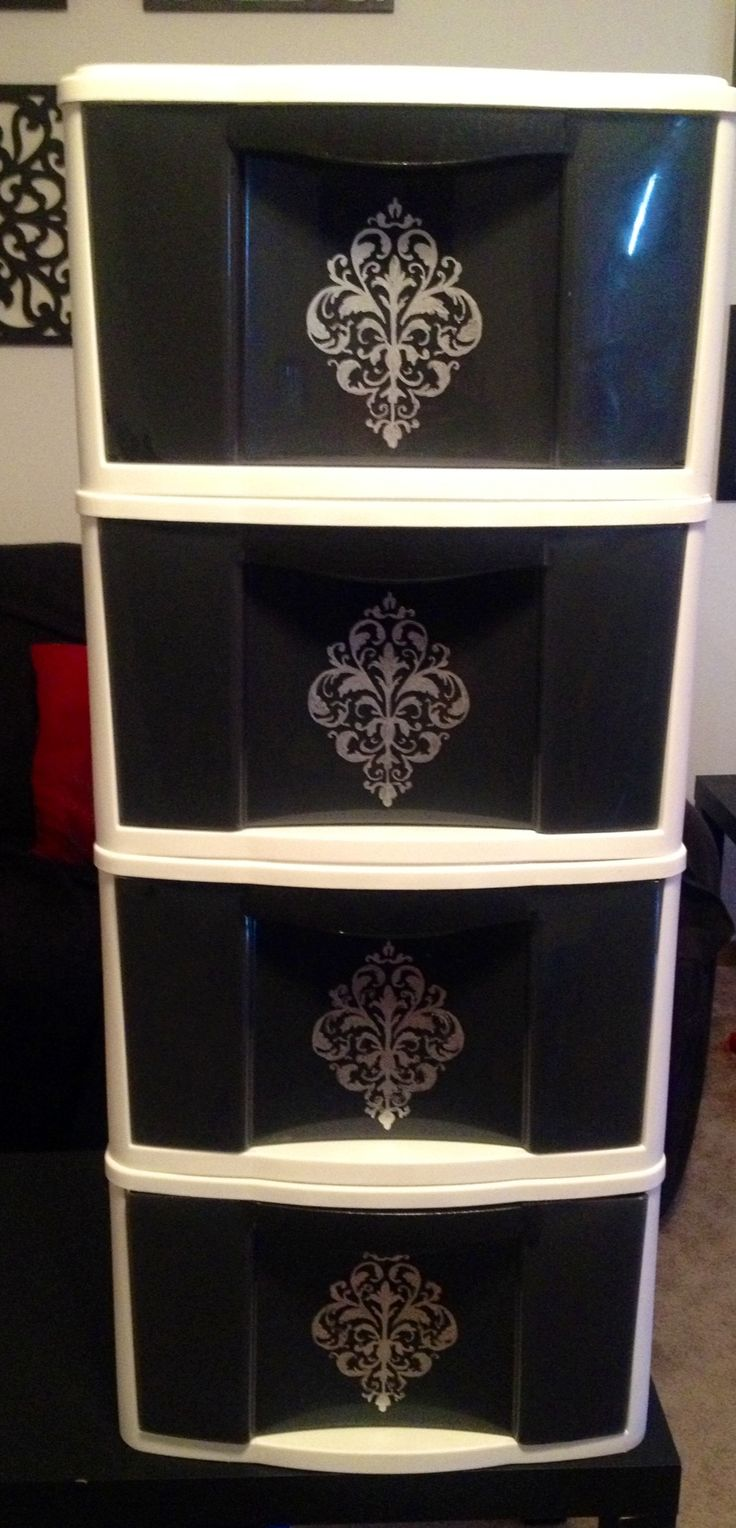 Plastic drawers painted on the inside with design painted on the outside. All you need is paint and a stencil!