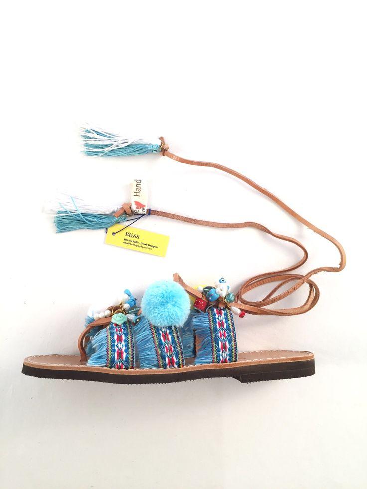 "Leather Sandals ""Megisti"" (Handmade to order) boho / bohemian / pom pom / summer / gift for her / beach sandal / unique / colorful / by BlissDesigners on Etsy"