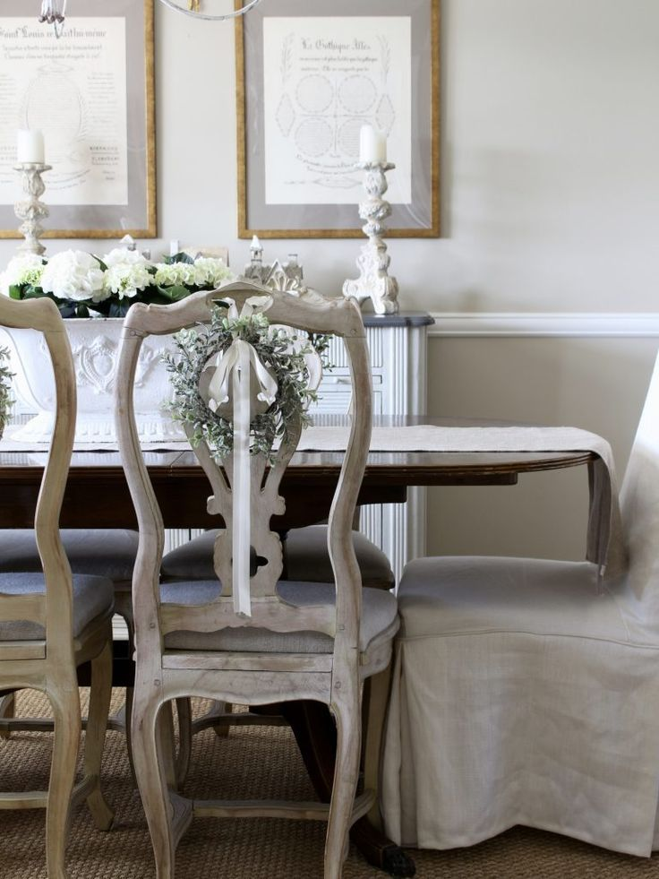 French Inspired Romantic Christmas Dining Room Dining Room