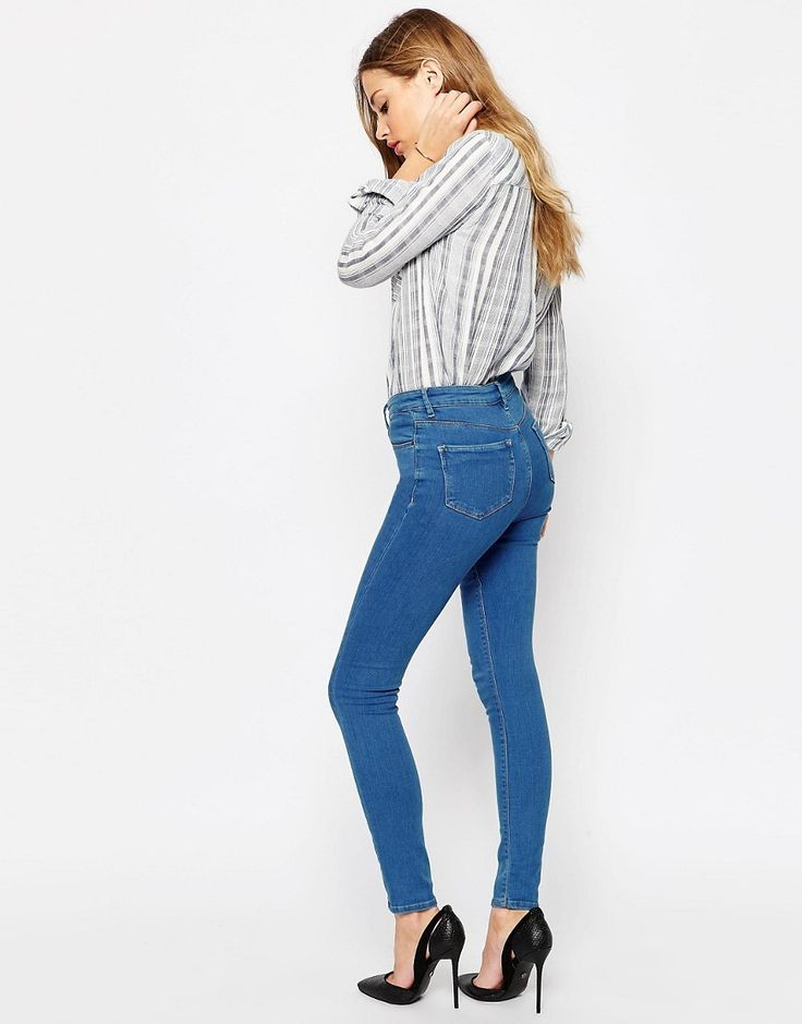 ASOS | ASOS RIDLEY Skinny Ankle Grazer Jeans In Sabrina Rich Blue Wash