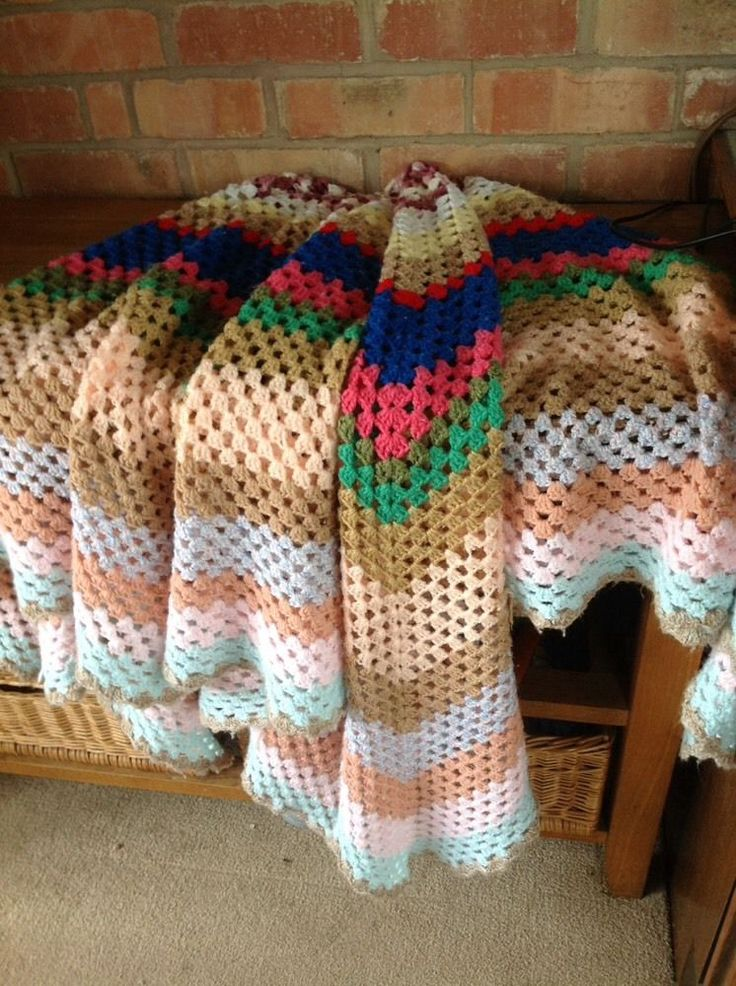 Vintage Blanket Throw Crocheted Multicoloured Large 70  x 65  Campervan Retro