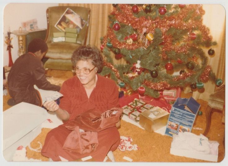 Vintage 70s PHOTO Black Woman Opening Christmas Presents w/ Dollars Money | eBay