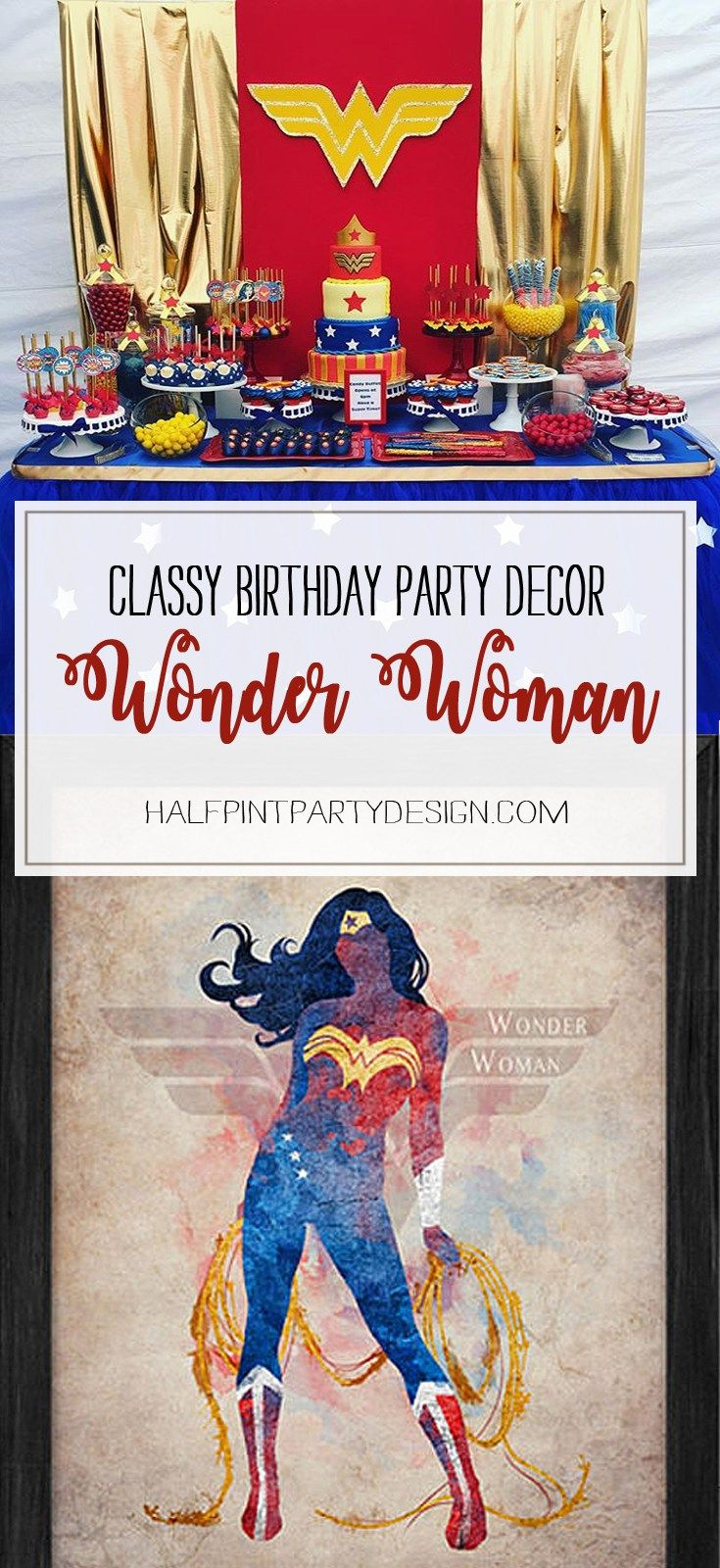 Your favorite heroine got an image update that is super-classy. Take a page from the new movie for Classy Wonder Woman Birthday Party Decor | Halfpint Design