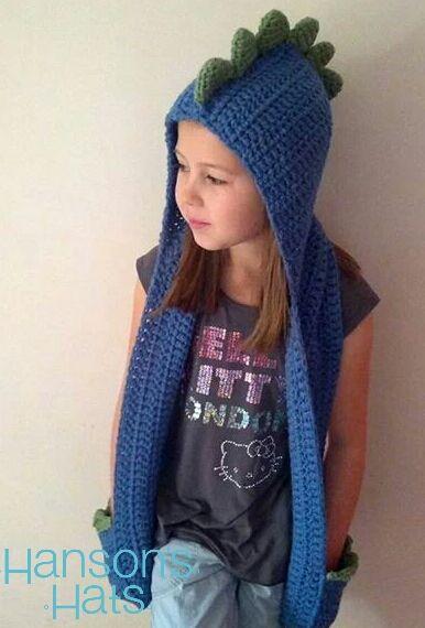 INSPIRATION: Blue dinosaur hooded scarf: Except I'd make mine out of fleece
