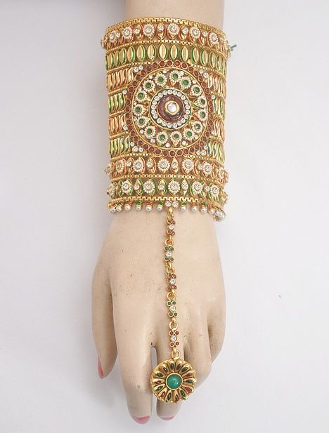 Indian Traditional Polki Bracelet Jewellery With Ring Attached