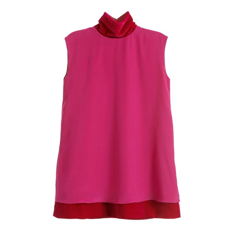 Magenta silk and silk velvet dress #magenta #silk #velvet #SilkVELVET #dress #minidress #highcollar