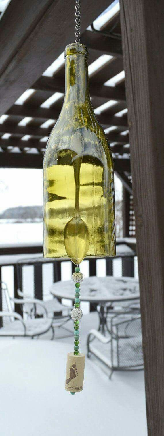 Wine bottle wind chime with spoon