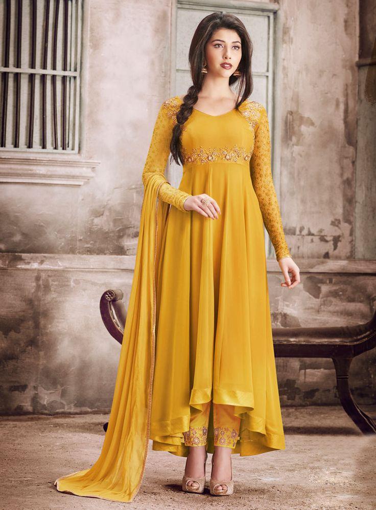 Mustard Georgette Anarkali Suit 90675