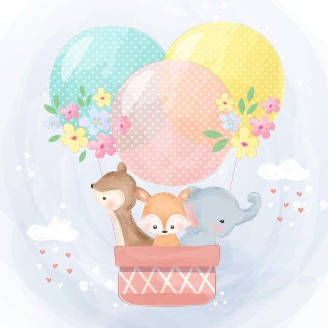 Cute Animals Flying With The Air Balloon Animal Clipart Adorable Air Balloon Png And Vector With Transparent Background For Free Download Cute Animal Illustration Balloons Cute Animals