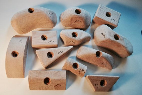 Pack Of Wooden Rock Climbing Holds