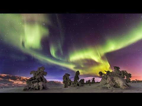 Northern lights in Lapland in Finland: time-lapse about aurora borealis