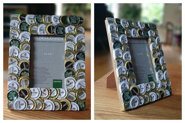 Bi(ld)errahmen: Bilderrahmen mit alten Kronkorken aufpimpen. #recycling #kronkorken #deko #diy