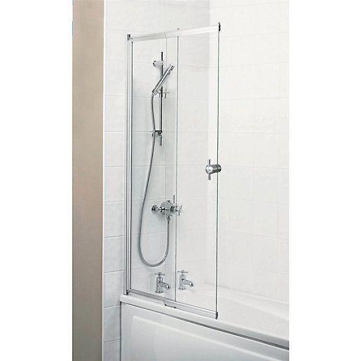 Wickes Sliding Bath Screen Silver Effect Frame Bathroom