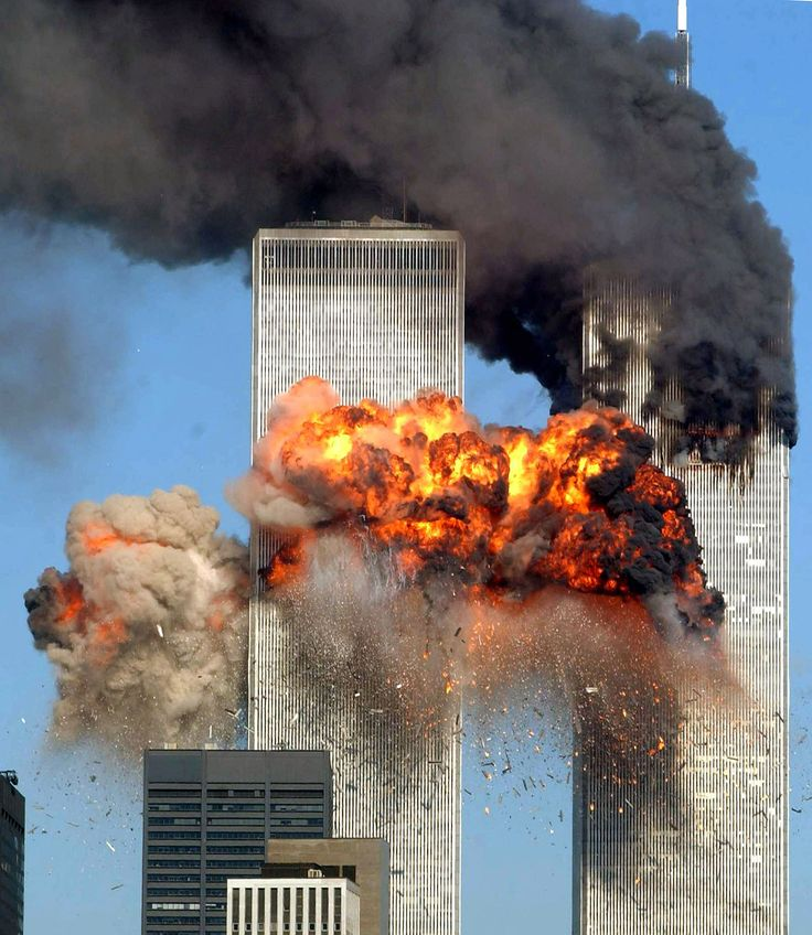 Hijacked United Airlines Flight 175 from Boston crashes into the south tower of the World Trade Center and explodes at 9:03 a.m. on September 11, 2001 in New York City.