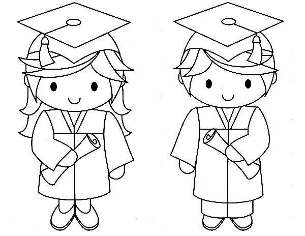 Graduation Graduation Couple Coloring Pages Kindergarten