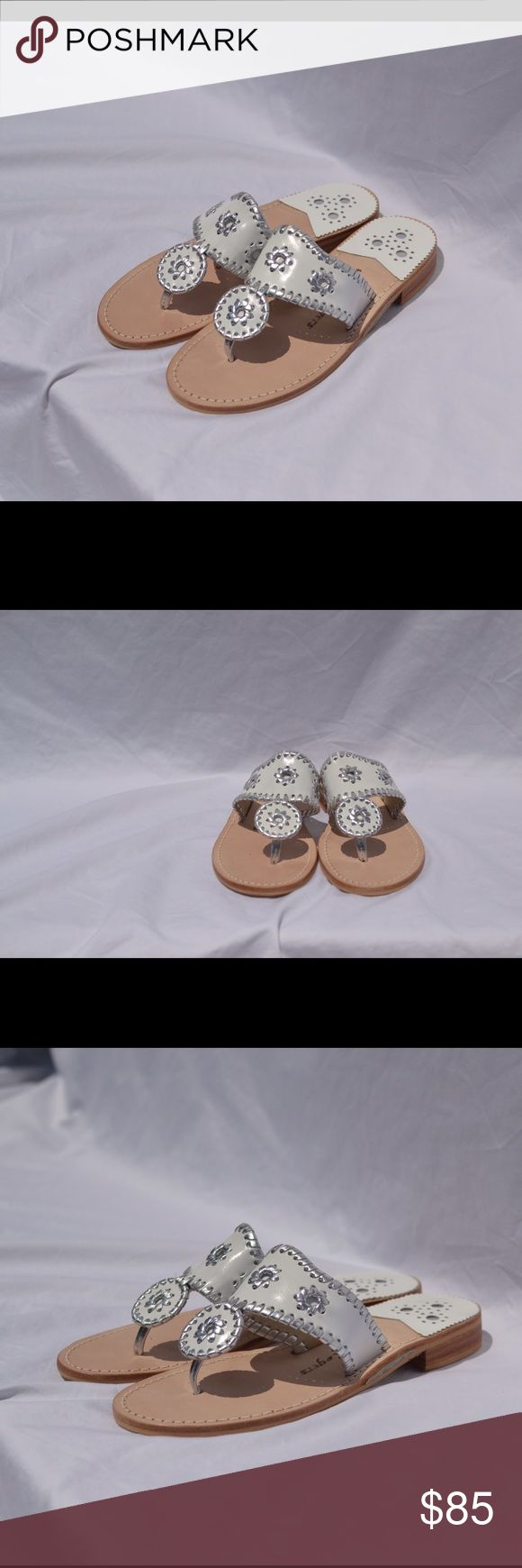 White with silver trim Jack Rodgers Size 7 This are brand new, never been worn, size 7 Jack Rodgers. White with silver trim Jack Rogers Shoes Sandals