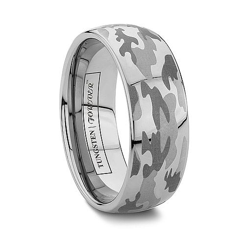 Or Camo Wedding Bands Tungsten Rings Engraved Military Camouflage   STRYKER