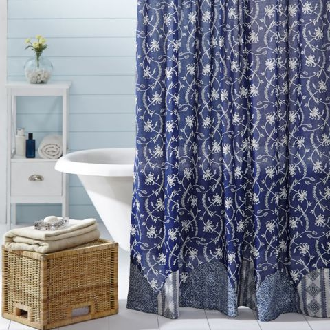 The Shower Curtain Features Button Holes For Your Shower Hooks Above A Rod  Pocket. This Unlined Shower Curtain Is Appliqued With 6   Half Circles  Along The ...