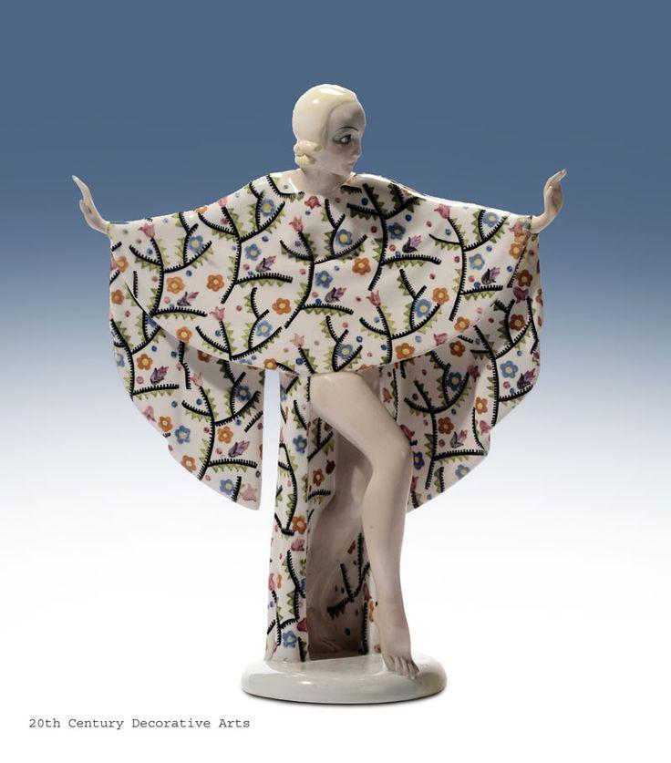 """""""Danzatrice Ambretta"""" an Art Deco pottery figure by Sandro Vacchetti for Essevi, Torino Italy 1930s"""