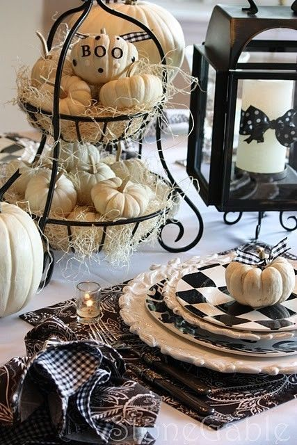 Halloween table decorations with White Pumpkins and Black Gingham Napkins and Polka Dot Ribbon