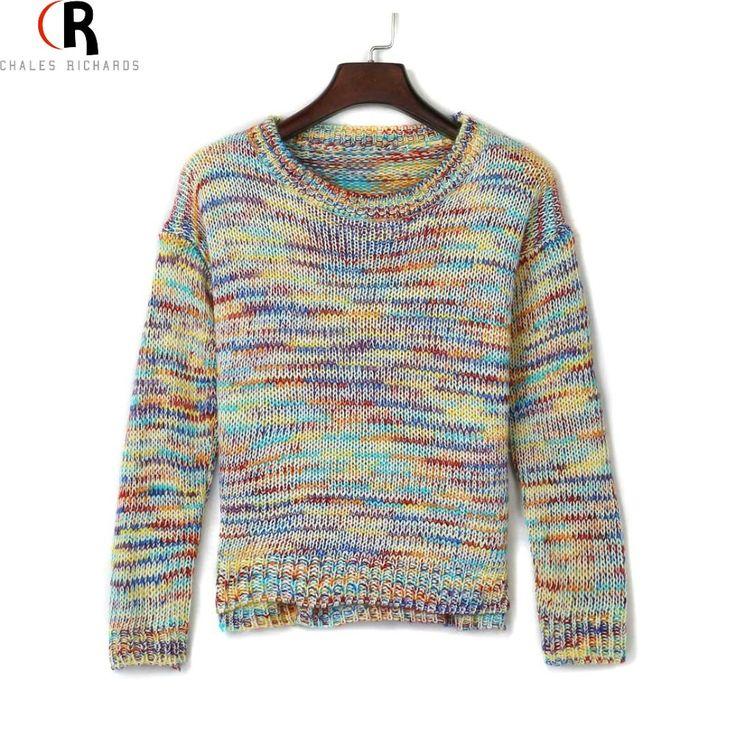 Aliexpress.com: Comprar Gradiente de arco iris de punto flojo de manga larga Jumper Sweater Pullover un tamaño 2016 primavera última nueva en el envío gratis de traje suéter fiable proveedores en Charles Richards's store