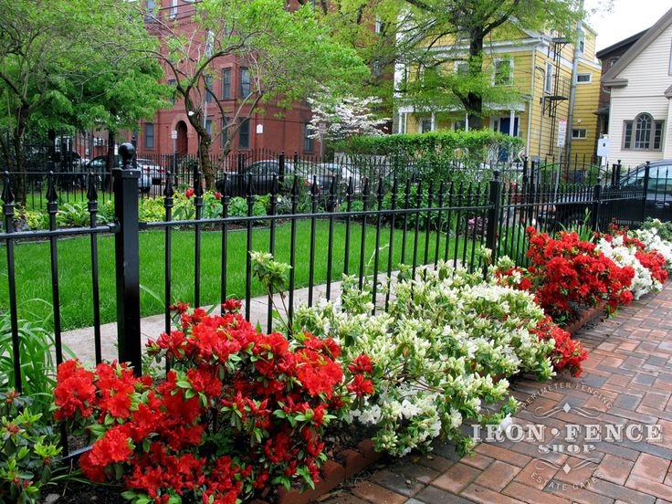 Amazing landscape positioned next to a detailed view of our incredible 3 foot wrought iron Stronghold Iron Fence