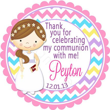 First Communion Girl Multi Colored Chevron Personalized Stickers - Party Favor Labels, Christening, Holy Communion - Wide Border Design by partyINK on Etsy