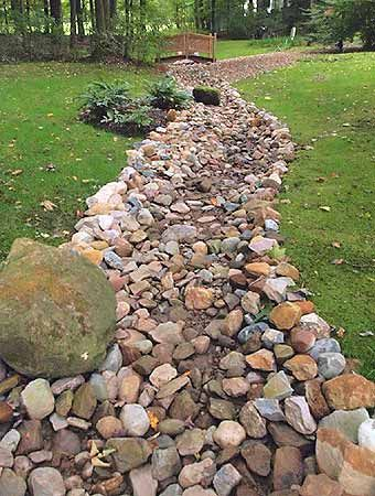 Dry Stream Beds: for drainage or design Dry stream beds create the look of a stream without the water... except when it rains! Dry stream beds are usually placed in areas that act like natural ditches during heavy rainfall. Adding a dry stream bed can be aesthetic, but also let you know where that wet area is and to avoid it when walking or mowing the lawn.