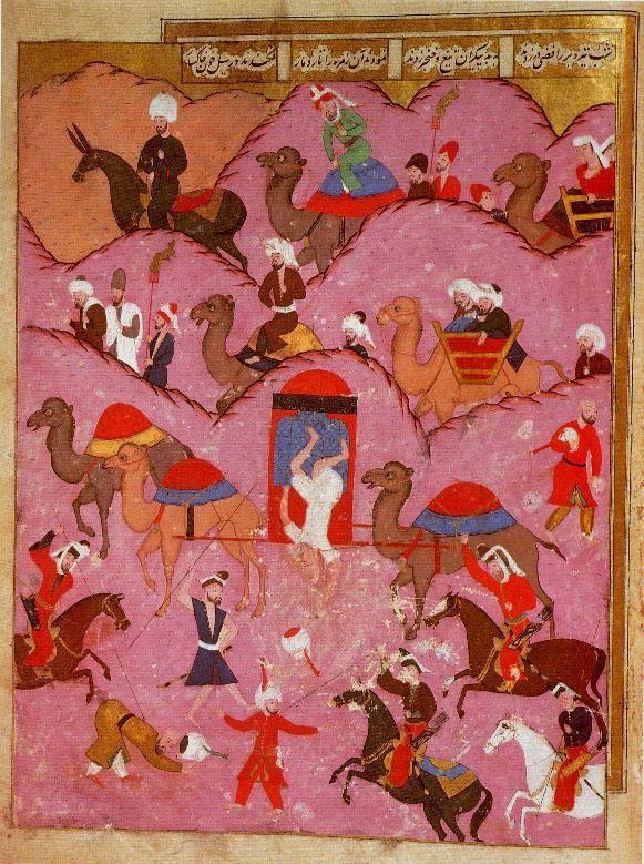 Assassinat de Ma'sum Beg, l'envoyé du safavide Shah Tahmasp , par des Bédouins dans le Hedjaz , du 16ème siècle tiré de Sehname-i Selim Han