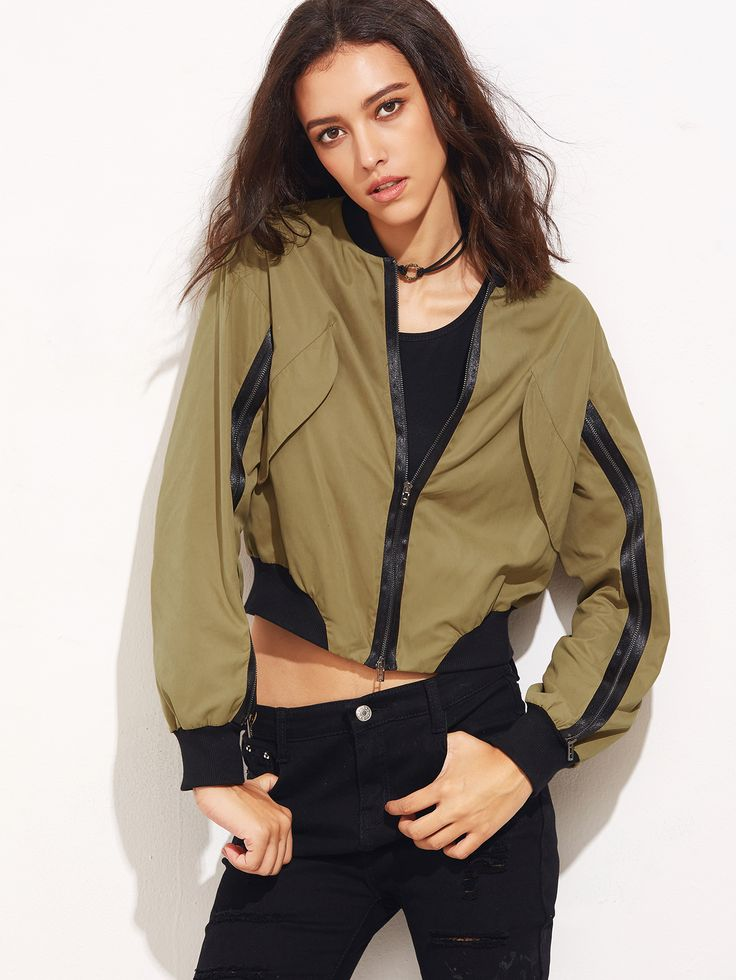 #AdoreWe #SheIn Jackets - SheIn Khaki Contrast Ribbed Trim Bomber Jacket With Zip Detail - AdoreWe.com