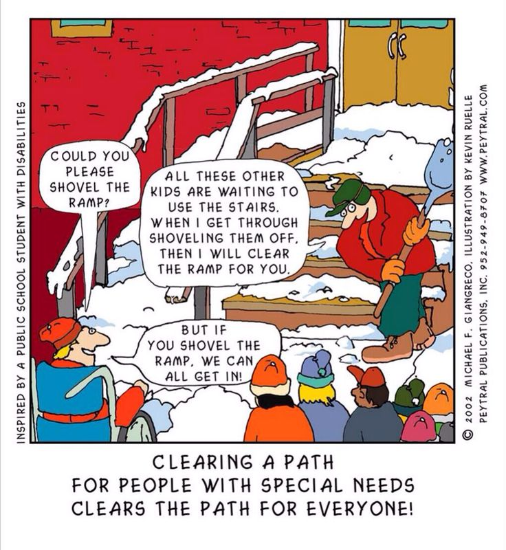 """""""Clearing a path for people with special needs clears the path for everyone."""" Illustration by Kevin Ruelle"""