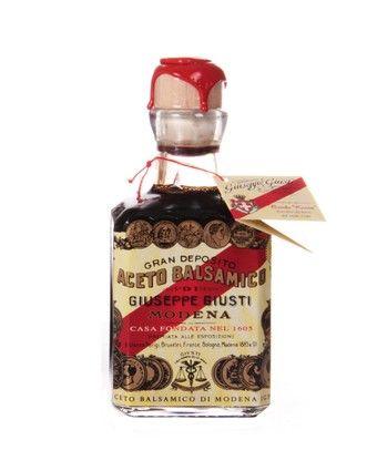 "Balsamic Vinegar of Modena - 5 Gold ""Banda Rossa"" - cubica. Ageing: 12 years  Serving suggestion: Risotto, carpaccio and raw fih tartares, soft or aged cheese, vanilla ice-creams and creams. #Modena #Giusti #aceto #balsamico #vinegar #balsamic #condiment #italy #italian"