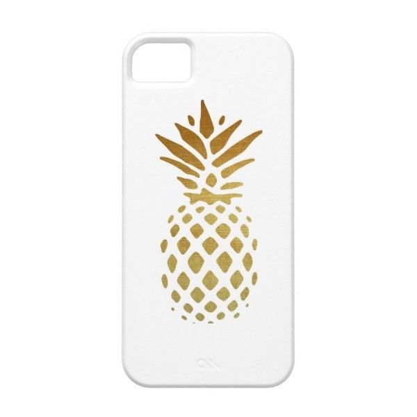 Golden Pineapple, Fruit in Gold iPhone SE/5/5s Case (€24) ❤ liked on Polyvore featuring accessories and tech accessories