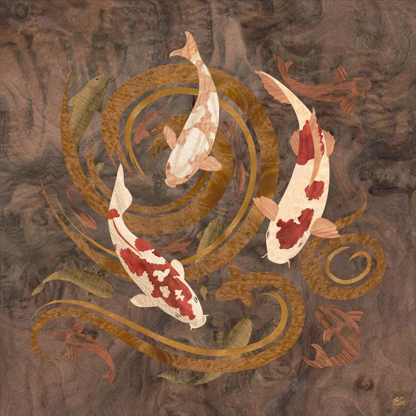 Marquetry Koi Fish made by Amazoncanvas who used a rare Walnut Burl wood for abstract background; Rosewood for the smaller fish; Buttonwood, Maple Quilted, and Lacewood for the three larger fish.