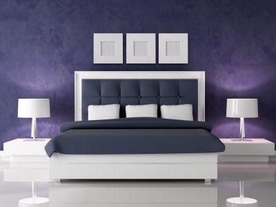 Minus purple - plus blue   Bedroom: purple, grey, & white