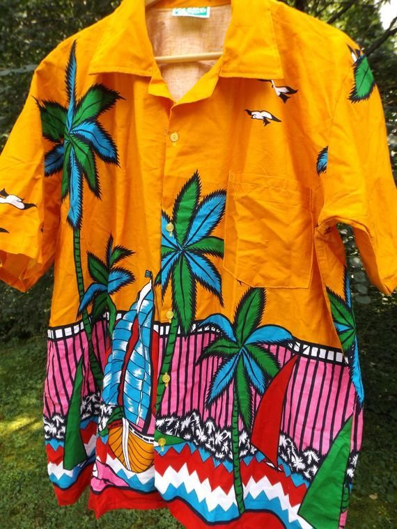 Legit Vintage Hawaiihemd Hawaii Button Tshirt Bright Tee Hawaii