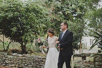 Father and bride in the stone walled garden at Lacewood at Tuhitarata Estate  http://lacewood.co.nz/ Photo from Hamish + Mandy collection by Fineline Photography