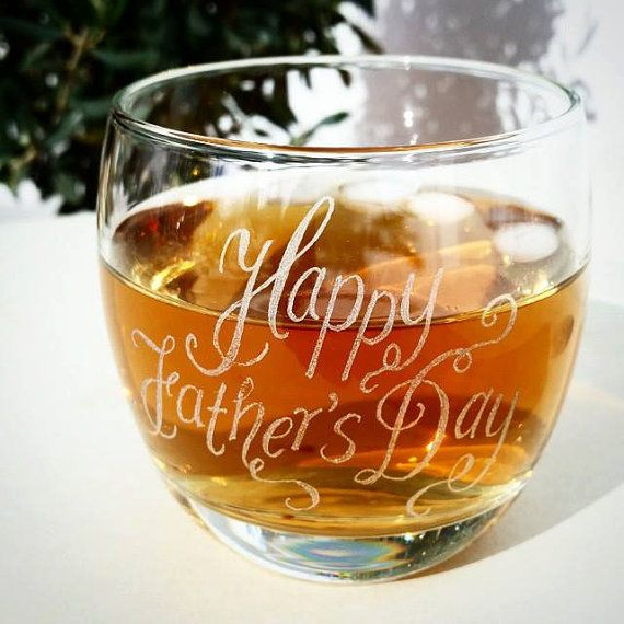 Personalised glass whisky tumbler mixer glass by CoveCalligraphy