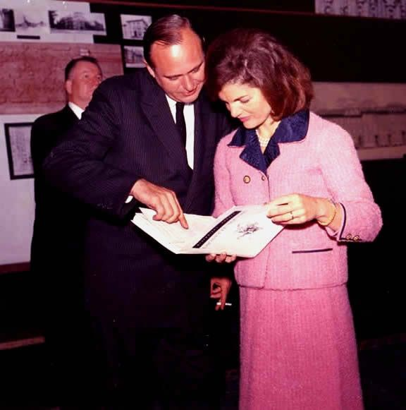 Jackie Kennedy, during a review of restoration plans for Lafeyette Square, with architect Carl Warnecke, 26 September 1962