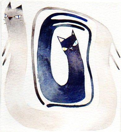 Lee, Ho-Eun: Entwin Cat, Ho Eun Cat, Cat Illustrations, Inside Cat, Watercolor Cat, Cat Inside, Black Cat, Cat Black, Cat In Art