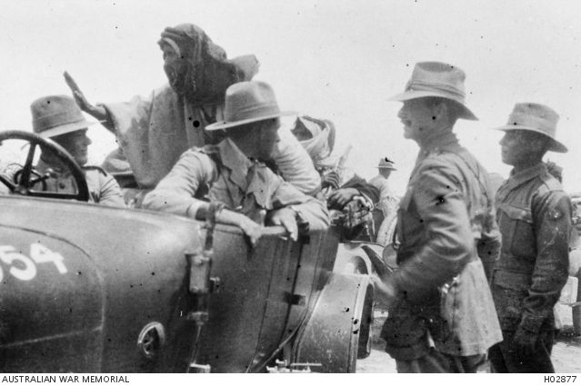 Jericho, Palestine. 1918-04. A deputation from the Arab Hejaz Force arriving at the Anzac Mounted Division Headquarters. The deputation had travelled through Turkish lines on this journey. Second from the right is Major General E. Chaytor who commanded the Mounted Division.